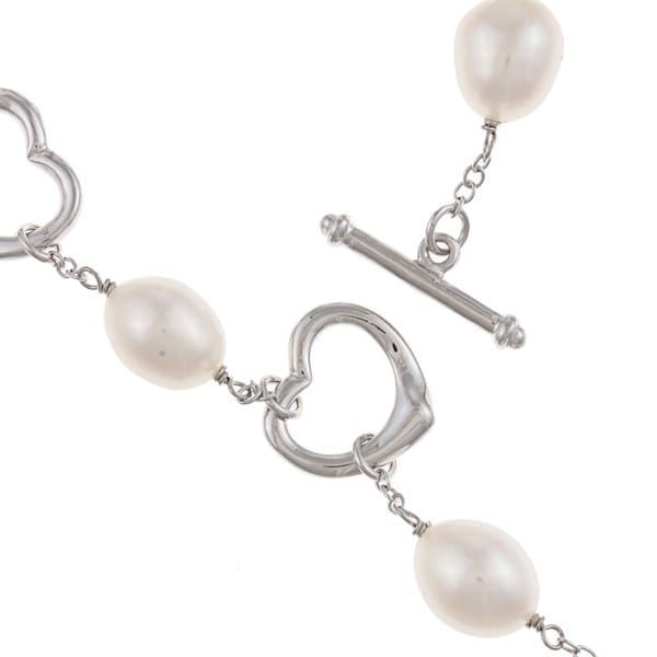 DaVonna Silver White FW Pearl and Heart Link Bracelet