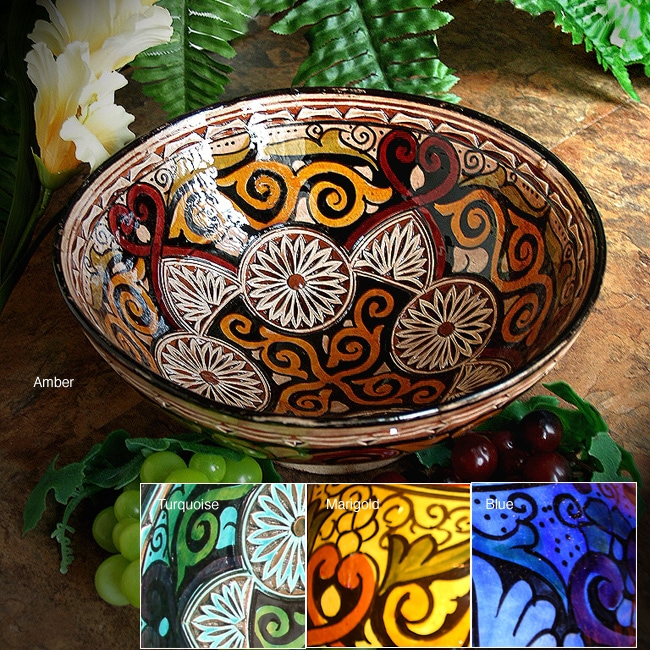 Handcrafted Engraved Ceramic Bowl (Morocco)