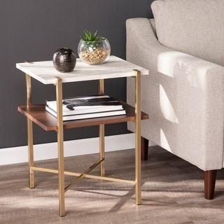 Strick & Bolton Aldea Square Faux Marble End Table w/ Storage