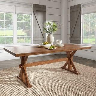 Eleanor 78-inch Oak Dining Table with X-base by iNSPIRE Q Classic