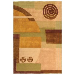 Handmade Rodeo Drive Soho Beige New Zealand Wool Rug (7'6 x 9'6)