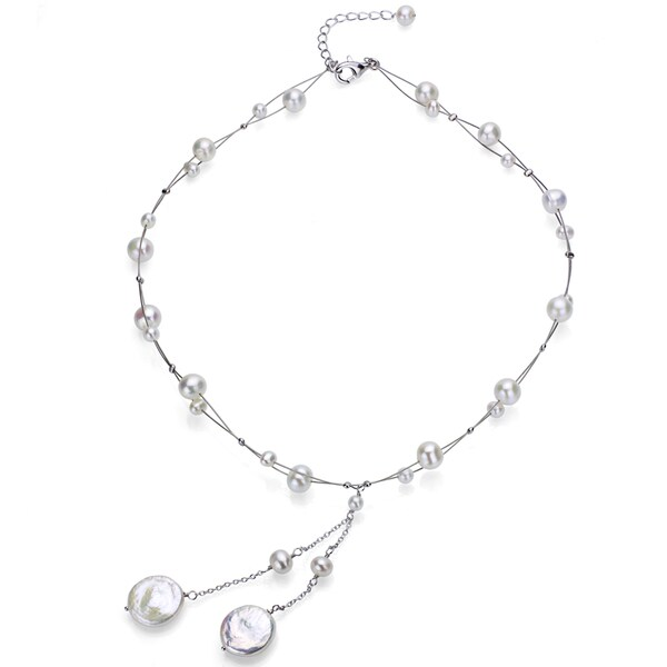 DaVonna Silver White FW Round and Coin Pearl Tin Cup Necklace (4-14 mm) 3574735