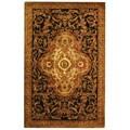 Safavieh Handmade Classic Royal Black/ Beige Wool Rug (5' x 8')