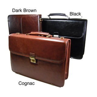 Torino Simple Flap-over Leather Briefcase