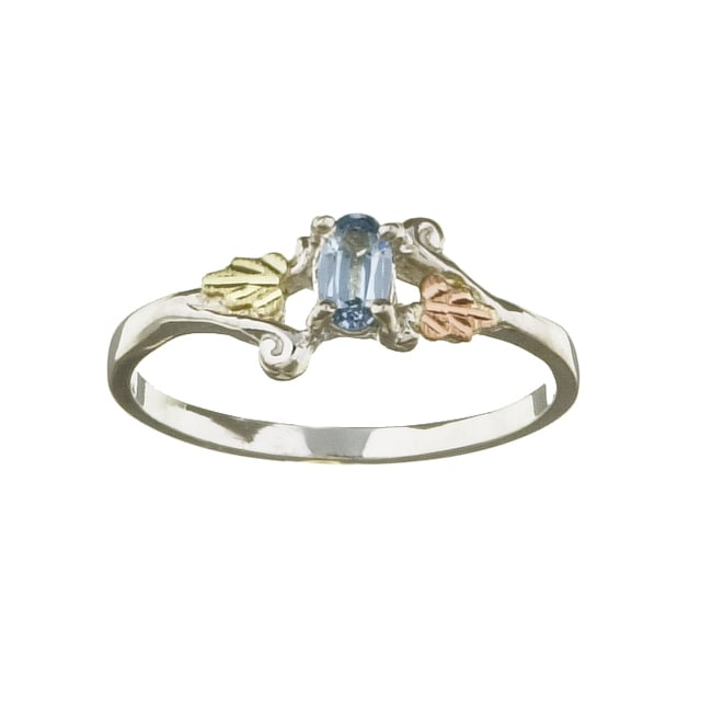 Black Hills Gold and Silver March Birthstone Ring