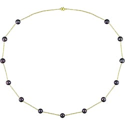 Miadora 10k Gold Black FW Pearl Necklace (5.5-6mm)