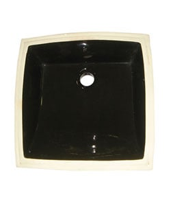 Vitreous China Square Black Undermount Bathroom Sink