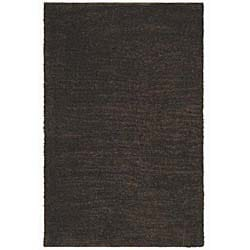 Hand-woven Shaggy Brown Wool Rug (4' x 6')