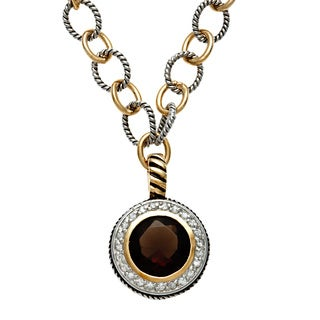 Sterling Essentials Silver Antique Finish Two-tone Round CZ Necklace