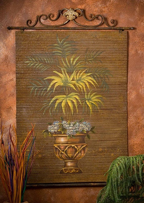 Hand-painted Fern Bamboo Wall Art
