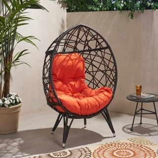 Palazzo Outdoor Wicker Teardrop Chair with Cushion by Christopher Knight Home