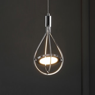 """Orion 6"""" Adjustable Integrated 1-Light Pendant, Chrome by JONATHAN Y"""
