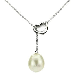 DaVonna Silver Chain and White FW Pearl Lariat Necklace (10-11 mm)