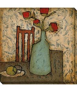 DeRosier 'Vase with Fruit IV' Wrapped Canvas Art