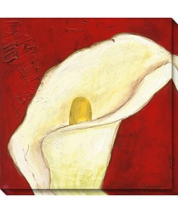 Laura Gunn 'Calla Lily on Deep Red I' Canvas Art