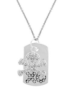 Icz Stonez Silver Skull and Crossbones Dog Tag Necklace