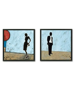 Joel Ganucheau 'Waiting' 2-piece Framed Art Set