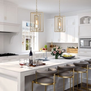 "Glam Ceiling Hanging Light Golden Pendant Lighting for Kitchen Island - W 12""x H 20.5"""