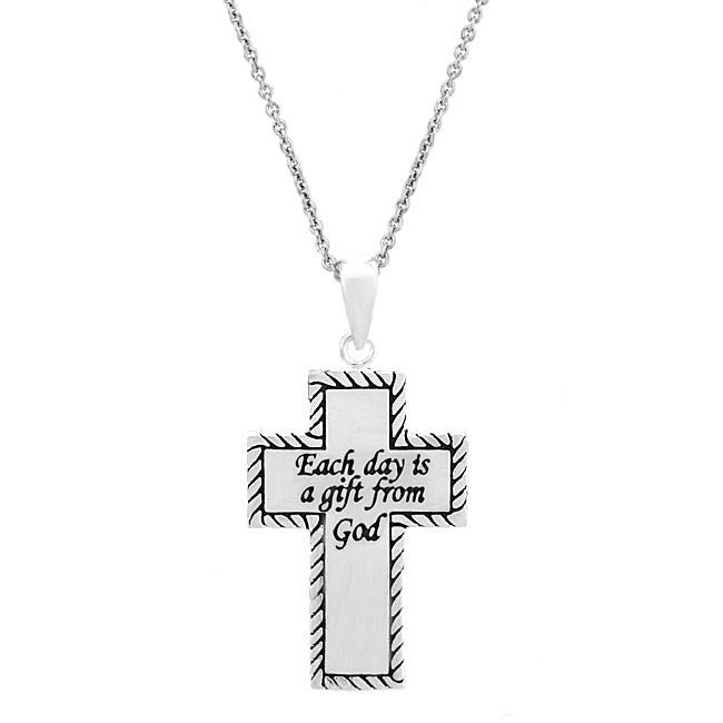 Mondevio Sterling Silver Inspirational Cross Necklace