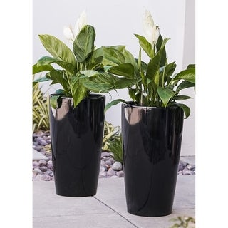 XBrand Nested Plastic Self Watering Indoor Outdoor Round Tall Planter Pot w/Glossy Finish, Set of 2, 17 Inch Tall, Black