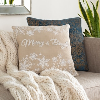 """Sadie """"Merry & Bright"""" Beaded 20-inch Down or Poly Throw Pillow"""