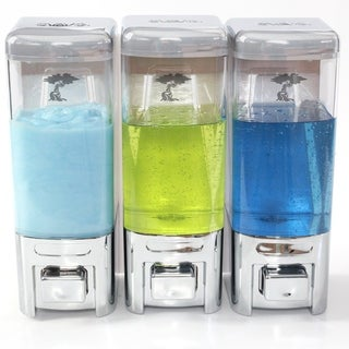 ToiletTree Products Shampoo and Soap Dispensers No Drilling. (Chrome, Triple)