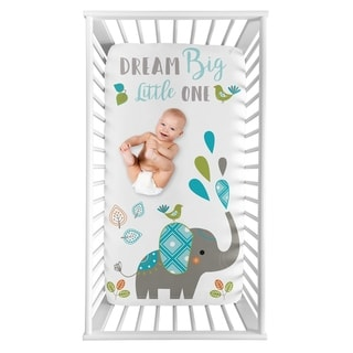 Sweet Jojo Designs Mod Elephant Collection Boy Girl Photo Op Fitted Crib Sheet - Turquoise Blue Green Grey Dream Big Little One
