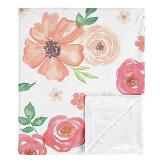 Sweet Jojo Designs Shabby Chic Pink Rose Watercolor Floral Collection Girl Baby Receiving Security Swaddle Blanket - Peach Green