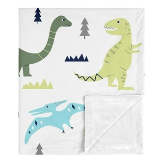 Sweet Jojo Designs Modern Dino Mod Dinosaur Collection Boy Baby Receiving Security Swaddle Blanket - Blue, Green and Grey