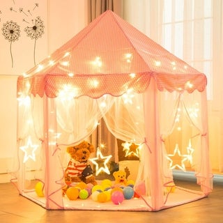 Kids Portable Princess Castle LED Play Tent with Carrying Bag