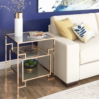 Evander Champagne Gold Finish Side Table with Mirror Bottom and Glass Shelf and Top by iNSPIRE Q Bold