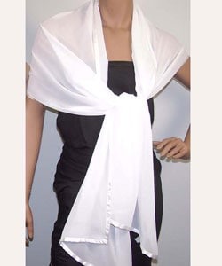 Black/White Satin Border Polyester Oblong Chiffon Wrap (Case of 2)