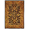 Handmade Classic Regal Burgundy/ Gold Wool Rug (4' x 6')