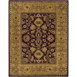 Handmade Classic Regal Burgundy/ Gold Wool Rug (6' x 9')