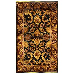 Handmade Classic Regal Black/ Burgundy Wool Rug (3' x 5')