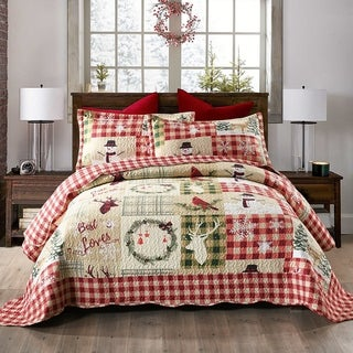 Christmas Rustic Quilt Bedspread Set