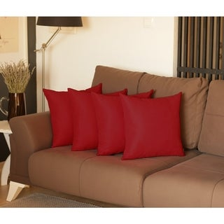Decorative Square Solid Color Throw Pillow Cover Set (4 pcs in set)
