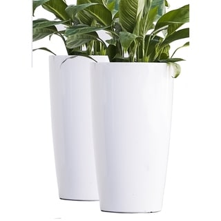 Xbrand Nested Plastic Self Watering Round Tall Planter Pot,Glossy Finish, Set of 2, 17 Inch Tall, White