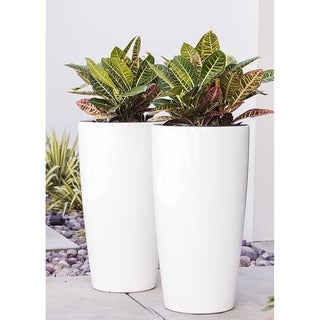 Xbrand Nested Plastic Self Watering Tall Round Planter Pot, Set of 2, 30 Inch Tall, White