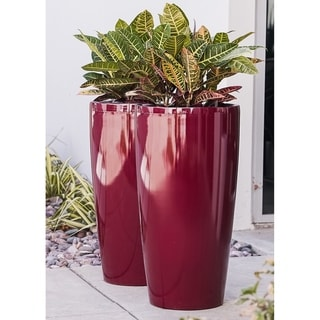 Xbrand Nested Plastic Self Watering Tall Round Planter Pot, Set of 2, 30 Inch Tall, Red