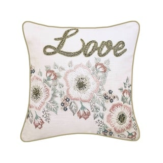 "Celebrations Floral Beaded ""Love"" Decorative Pillow, Oyster/Pink"
