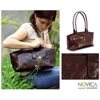 Handmade 'Impression' Leather Handbag (Peru)