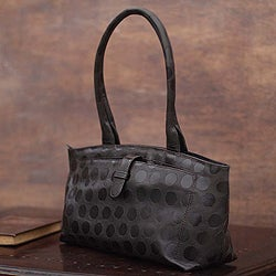 Handmade 'Impression' Leather Handbag (Peru)