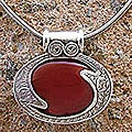 Sterling Silver Carnelian Necklace 'Royal Amulet' (India)