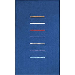 Hand-tufted Stripes Blue Wool Rug (5' x 8')