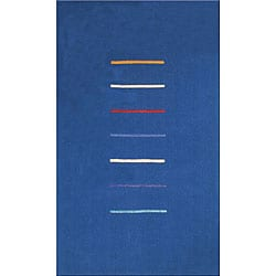 Hand-tufted Stripes Blue Wool Rug (7' x 9')