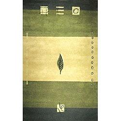 Hand-tufted Turning Leaf Green Wool Rug (2' x 4')