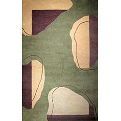 Hand-tufted Turning Leaf Green Wool Rug (8' x 11')