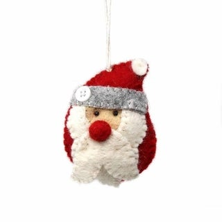 Handmade Santa and Helpers Felted Wool Christmas Ornament (Nepal)
