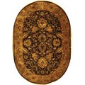 Handmade Classic Regal Burgundy/ Gold Wool Rug (4'6 x 6'6 Oval)